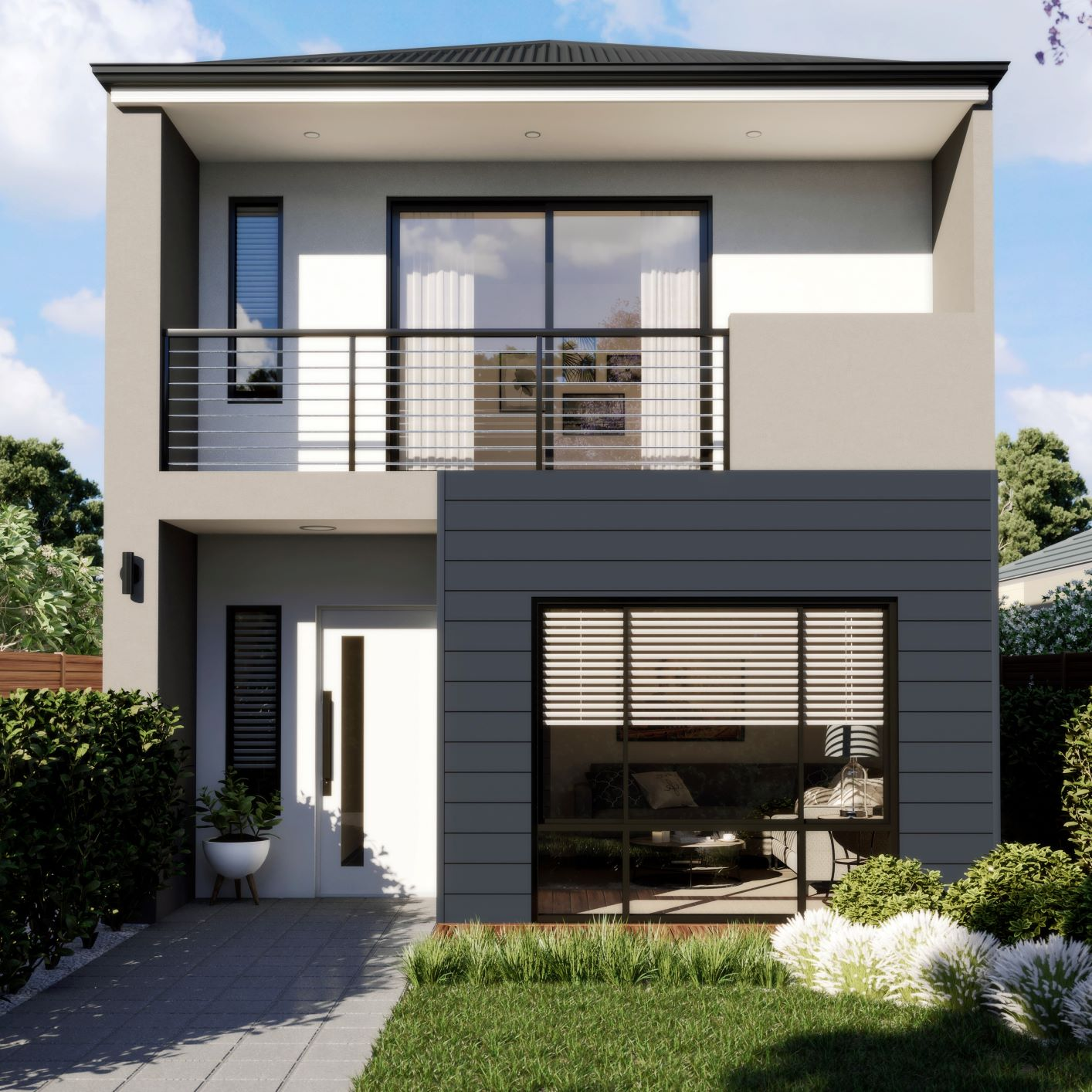 front design of two storey home with balcony in cockburn