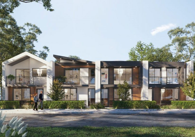 a streetscape render of four modern terrace style homes.